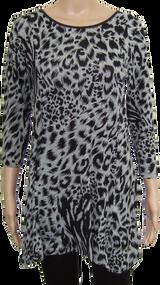 Animal Print 3/4 Sleeve Longline Top with Pu Trim. Ex M&S