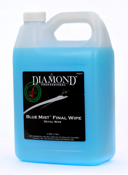 "Blue Mist Final Wipe easily removes dust, fingerprints, dirt, and even buffing and polishing residue leaving a ""showroom"" shine on your vehicle's surface. Just spray and wipe for exceptional results without the use of water. Blue Mist can also be used after washing to enhance the vehicle's finish prior to wiping off the final water spots. Works on a variety of surfaces including wood, veneer, chrome and glass. Use with a cotton towel for improved gloss and protection."