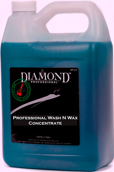 Professional Wash N Wax removes daily dirt. It is a medium viscosity liquid car wash concentrate, which produces low foam conducive to waxing. When diluted correctly, Wash N Wax offers superior surface lubrication that rinses off road film and soap easily, leaving a lustrous shine. Professional Wash N Wax is the ideal product for used cars that need to look their best since it allows for spot-free rinsing and excellent sheeting characteristics with little chamois or towel time. Professional Wash N Wax also brightens chrome and glass beautifully.