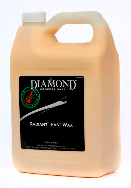 Radiant Fast Wax protects paint finish from environmental elements, such as ultraviolet sun rays, acid rain, and other airborne contaminants but without the hassle of traditional waxes. This user-friendly, pure liquid wax is safe to use on vinyl moldings as well as stripes and decals. Radiant Fast Wax spreads easily and will produce a deep luster on dark colors. Excels on glass and chrome. This High gloss, minimal effort wax will not streak, smear or leave residue and is great for removing tar and grease.