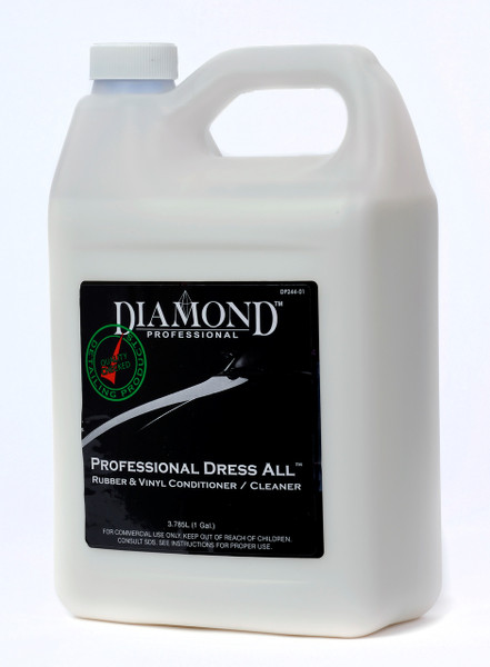 Professional Dress All is a thin, milk-colored, silicon emulsion, water-based dressing that helps restore and rejuvenate all vinyl, leather and rubber surfaces. It also helps restore the softness of these surfaces, making them flexible, which reduces cracking and wear. Its low gloss sheen is great for interiors. Professional Dress All acts as a cleaner conditioner in one step and may also be used to dress engines and underbody areas for a detailed look. It can be applied as a spray or wiped on with a towel or sponge.