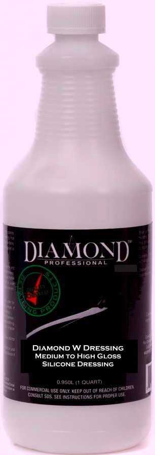 Diamond W Dressing is a medium to high gloss interior/exterior dressing. This biodegradable water-based dressing restores and protects rubber, vinyl and leather surfaces. Diamond W Dressing provides a superior long-lasting performance on both interior and exterior surfaces and protects and restores all rubber, leather and vinyl surfaces, while leaving a durable lasting shine. This water-based formulation meets all VOC requirements. Can be diluted 1:1 with water for a medium gloss sheen.