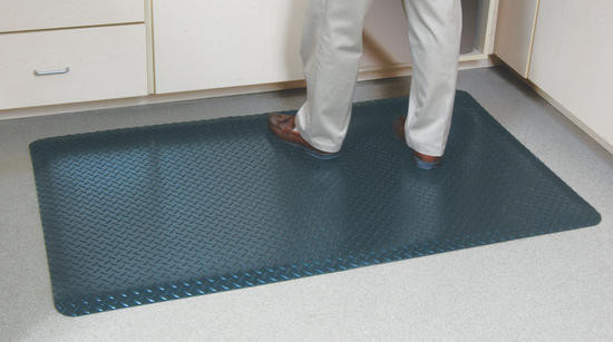 Diamond Tread top is resistant to spills while the foam base provides a cushion for standing over long periods. Edges are beveled to lay flat preventing tripping on the edge. Standard sizes are 2'x3' or 3'x5'. Available colors: midnight black, slate grey, metallic silver. Use it in many applications: cash register, work bench, assembly line, shops and more.