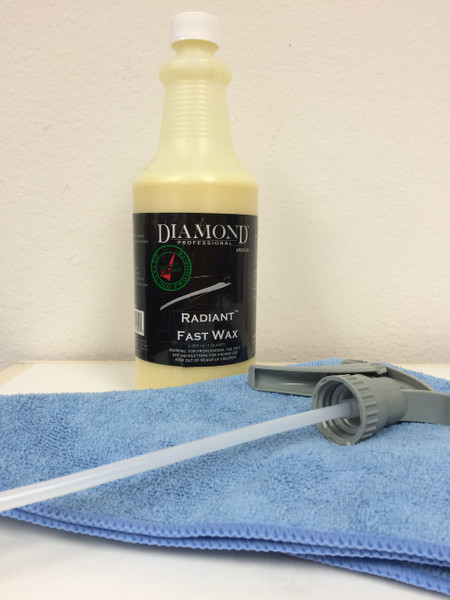 This kit includes Radiant Fast Wax (quart), 2 microfiber towels and a sprayer.