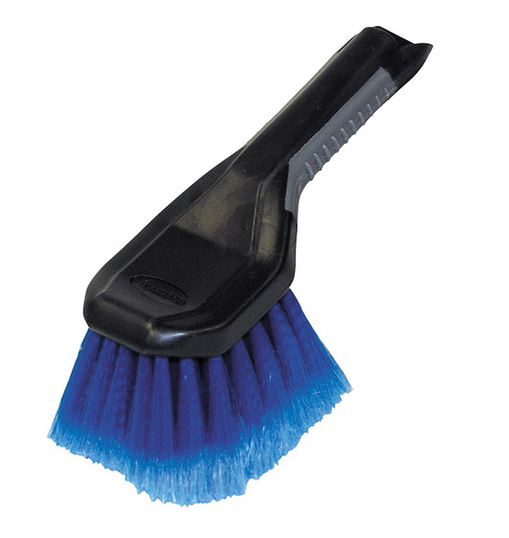 "This Wheel & Bumper Brush makes it easy to maintain the appearance of wheels and bumpers. This multi-purpose brush features:  Soft feathered bristles Comfort molded hndle 9"" size"