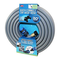 This hose is perfect for cleaning of your auto, RV, or boat.  This heavy, duty hose features:  Universal household bib Water saving auto shut-off capability 360 degree swivel connector Connects easily to all your cleaning devices 3-ply, kink resistance 50'