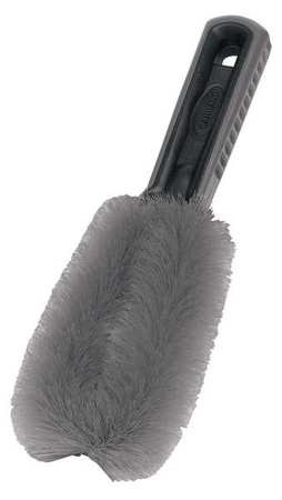 his brush is excellent for cleaning wheels. It features:  Soft, non-scratch bristles Comfort molded handle Safe for most finishes Easy to cleans both sides with wide loop
