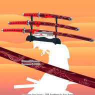 4 PCS Red Classic Dragon Japanese Samurai Sword Set