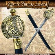 Mermaid Pirate Cutlass Sword w/ Basket Guard & Sheath