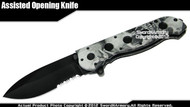 Black Skull Drop Point Spring Assisted Open Folding Pocket Knife Serrated Blade