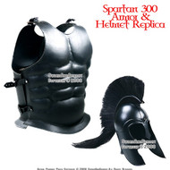Spartan Helmet & Leather Steel Cuirass Armor