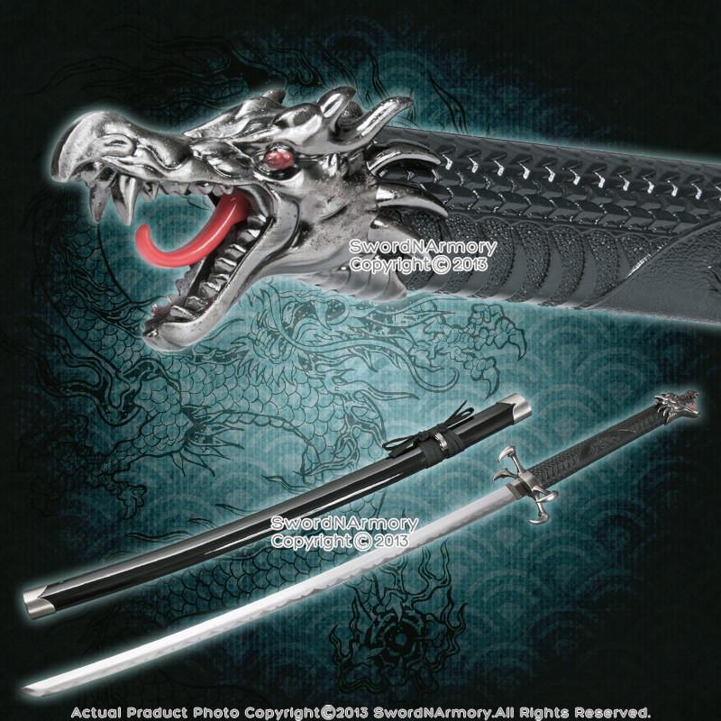 Samurai Black Cord Katana With Silver Guard | Samurai Swords ...
