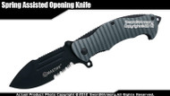 Mastiff Brand Spring Assisted Opening Folding Knife 7CR17MOV Blade Serrated Gray