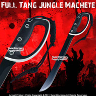 "21"" Black Full Tang Jungle Machete w/ Sheath Rubber and PlasticKnuckle Guard"