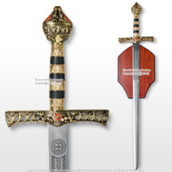 "46"" Richard the Lion Heart  Medieval King Knight Crusader Sword with Plaque"