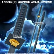 Anodized Shinobi Ninja Sword w/ Black Blade And Fitting