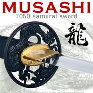 Handmade Musashi 1060 Katana Samurai Sword Dragon Brown