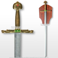 "40"" Lancelot Medieval Crusader Arming Sword Unsharpened Blade with Plaque"