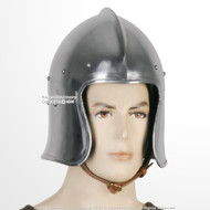 Functional Medieval Barbute Open Face Celeta Helmet 16G Steel w/ Liner SCA LARP