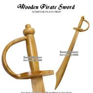 """30"""" Wooden Pirate Practice Sword Scimitar Prop"""