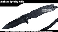 Black Spring Assisted Open Folding Pocket Knife Serrated Blade with Parachute Cord