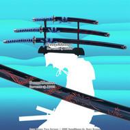 4 PCS Blue Classic Dragon Japanese Samurai Sword Set