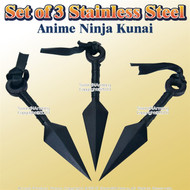 Set of 3 Stainless Steel Anime Ninja Kunai with Sheath