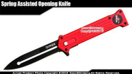 "8"" Red Joker Spring Assisted Open Pocket Folding Knife Black Blade"