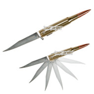 """.50 Caliber Size 10"""" Long Bullet Style Spring Assisted Opening Pocket Knife"""