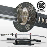Skyjiro Samurai 1070 Through Hardened Folded Steel Black Katana with Bohi