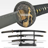 Japanese Bushido Tiger Samurai Katana Sword Set Katana Wakizashi Tanto w/ Stand