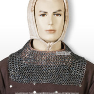 Titanium Medieval Chainmail Mantle Collar Armor w/Leather Buckle Flat Ring Rivet
