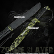"16"" Full Tang Green Zombie Slayer Machete Killer Sword w/ Skull Printed on Blade"