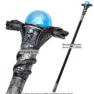 "35 "" Poly Resin Serpent Cobra Steel Walking Stick Gentleman's Cane"