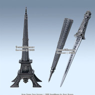 "10 "" Eiffel Tower Letter Opener Gift Knife Short Sword"