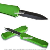 "Mini OTF Pocket Knife Letter Opener 1.98"" Blade with Green Handle"