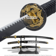 Japanese Bushido Dragon Last Samurai Sword Set Katana Wakizashi Tanto w/ Stand