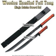 2 Pcs Wooden Handled Full Tang Ninja Daisho Sword Set
