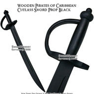 Wooden Pirates of Caribbean Cutlass Sword  Prop Black