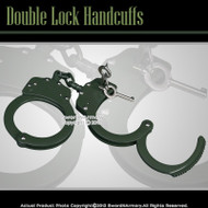Self Defense Green Steel Chain Double Lock Handcuffs With Spare Key & Pouch