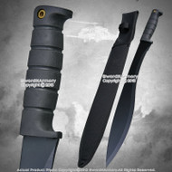 "21"" Black Jungle Camping Machete Sword Rubber Grip w/ Nylon Sheath Lanyard Hole"