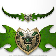 """49"""" Fantasy Anime Sword Green Blade Shield Cosplay Video Game Weapon"""