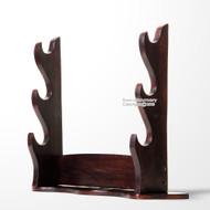 Dark Brown Solid Wood Three Tiers Samurai Katana Table Top Sword Display Stand