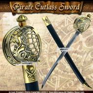 Mermaid Pirate Cutlass Sword with Basket Guard & Engraved Blade