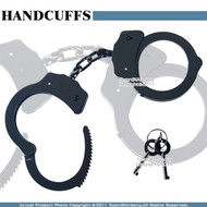 Black Steel Chain Double Lock Handcuffs Pawl Ratchet w/ Spare Key Made in Taiwan