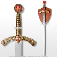 "40"" Medieval Crusader Arming Sword with Red Cross Unsharpened Blade with Plaque"