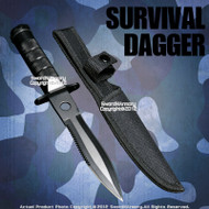 Black Fixed Blade Tactical Knife Dagger with Survival Kits Compass and Nylon Pouch