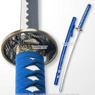 Classic Japanese Style Samurai Katana Sword with Dragon Painted Blue Scabbard