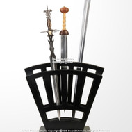 Black Wooden Vertical Display Stand Holds 9 Medieval Swords
