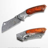 """8"""" Damascus Etch Cleaver Razor Blade Spring Assisted Pocket Knife"""